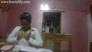 desi Indian professor Lily in front of webcam